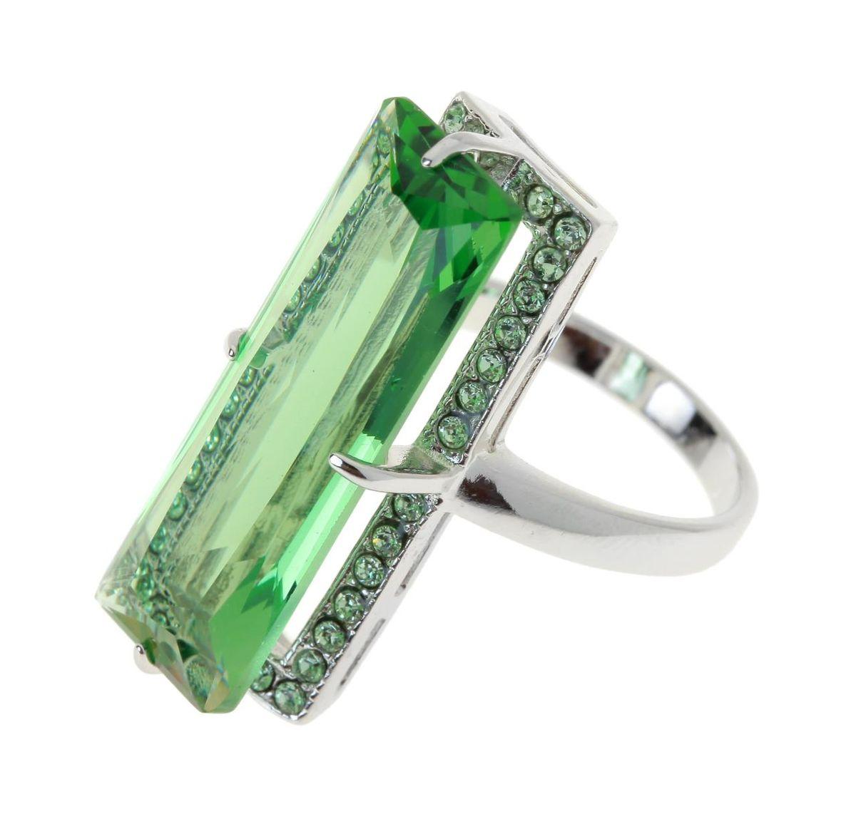 Кольцо Jenavi Коллекция Подиум Креатив, цвет: серебряный, зеленый. h187f030. Размер 18h187f030Коллекция Подиум, Креатив (Кольцо) гипоаллергенный ювелирный сплав,Серебрение c род. , вставка Кристаллы Swarovski , цвет - серебряный, зеленый, размер - 18 избегать взаимодействия с водой и химическими средствами
