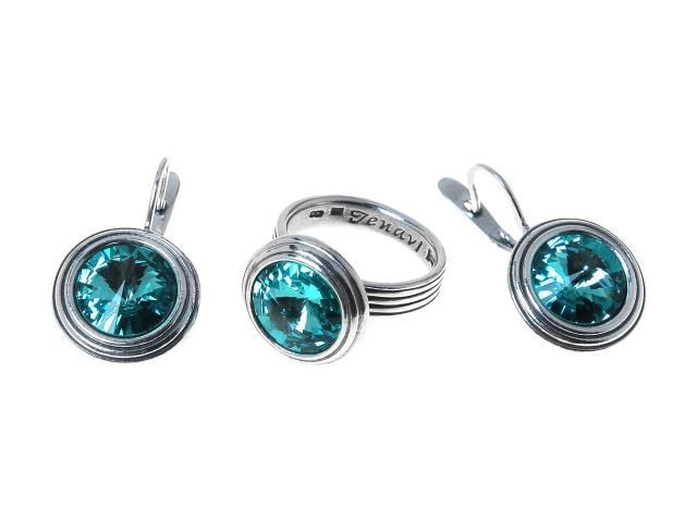 """Комплект украшений Jenavi """"Эмбаси"""": кольцо, серьги, цвет: серебристый, бирюзовый. Размер 19. j1713241"""
