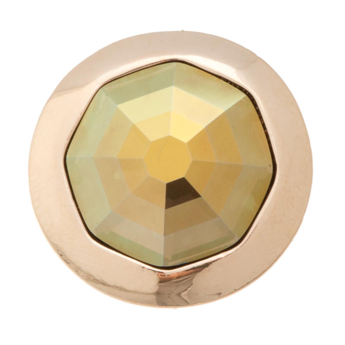 Накладка на кольцо-основу Jenavi Штраубе, цвет: золотой, зеленый. k191pr31k191pr31Накладка на кольцо-основу Jenavi Штраубе выполнена в виде диска из ювелирного сплава, в центре которого расположен восьмигранный кристалл Swarovski. Изделие оснащено штифтом с резьбой, при помощи которого накладка фиксируется на кольце-основе. Накладка на кольцо-основу Jenavi позволит экспериментировать и дополнять ваш образ каждый день.