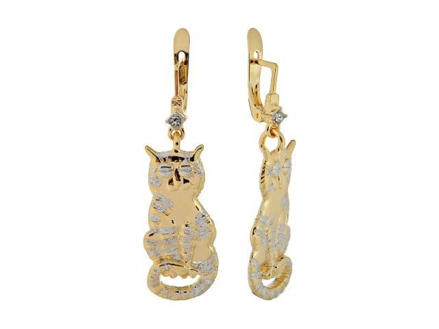Серьги Jenavi Перс, цвет: золотой, белый. m351q100m351q100Стильные серьги Jenavi Перс выполнены в виде основы из гипоаллергенного ювелирного сплава, которая дополнена подвесками в форме котиков и кристаллами Swarovski. В качестве основания используется классический английский замок, который надежно зафиксирует сережку. Оригинальные серьги Jenavi Перс помогут дополнить любой образ и привнести в него завершающий яркий штрих.