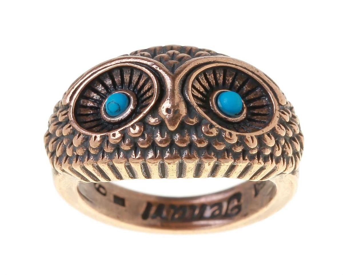 Кольцо Jenavi Майота, цвет: медный. r748u0b9. Размер 17r748u0b9Кольцо современного дизайна Jenavi Майота выполнено в виде головы совы и изготовлено из гипоаллергенного ювелирного сплава с покрытием из меди. Дополняют кольцо вставки из бирюзы. Стильное кольцо придаст вашему образу изюминку и подчеркнет индивидуальность.