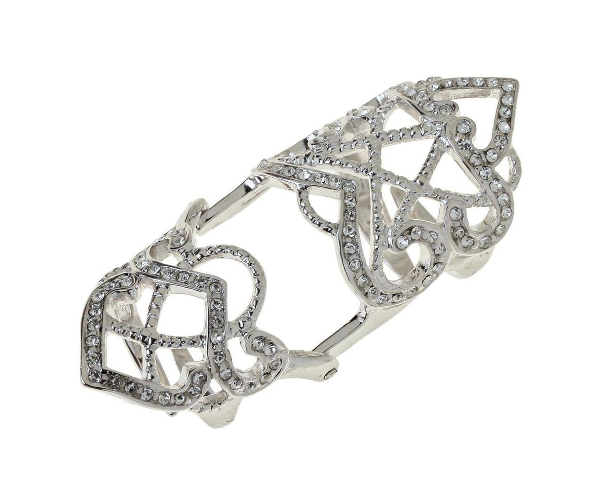 Кольцо Jenavi Позио, цвет: серебряный, белый. r765f000r765f000Стильное кольцо Jenavi Позио выполнено из гипоаллергенного ювелирного сплава с серебрением и оформлено ажурными переплетениями, которые дополнены кристаллами Swarovski. Кольцо надевается на две фаланги и имеет универсальный размер. Оригинальное кольцо Jenavi превосходно дополнит ваш образ и подчеркнет отменное чувство стиля своей обладательницы.