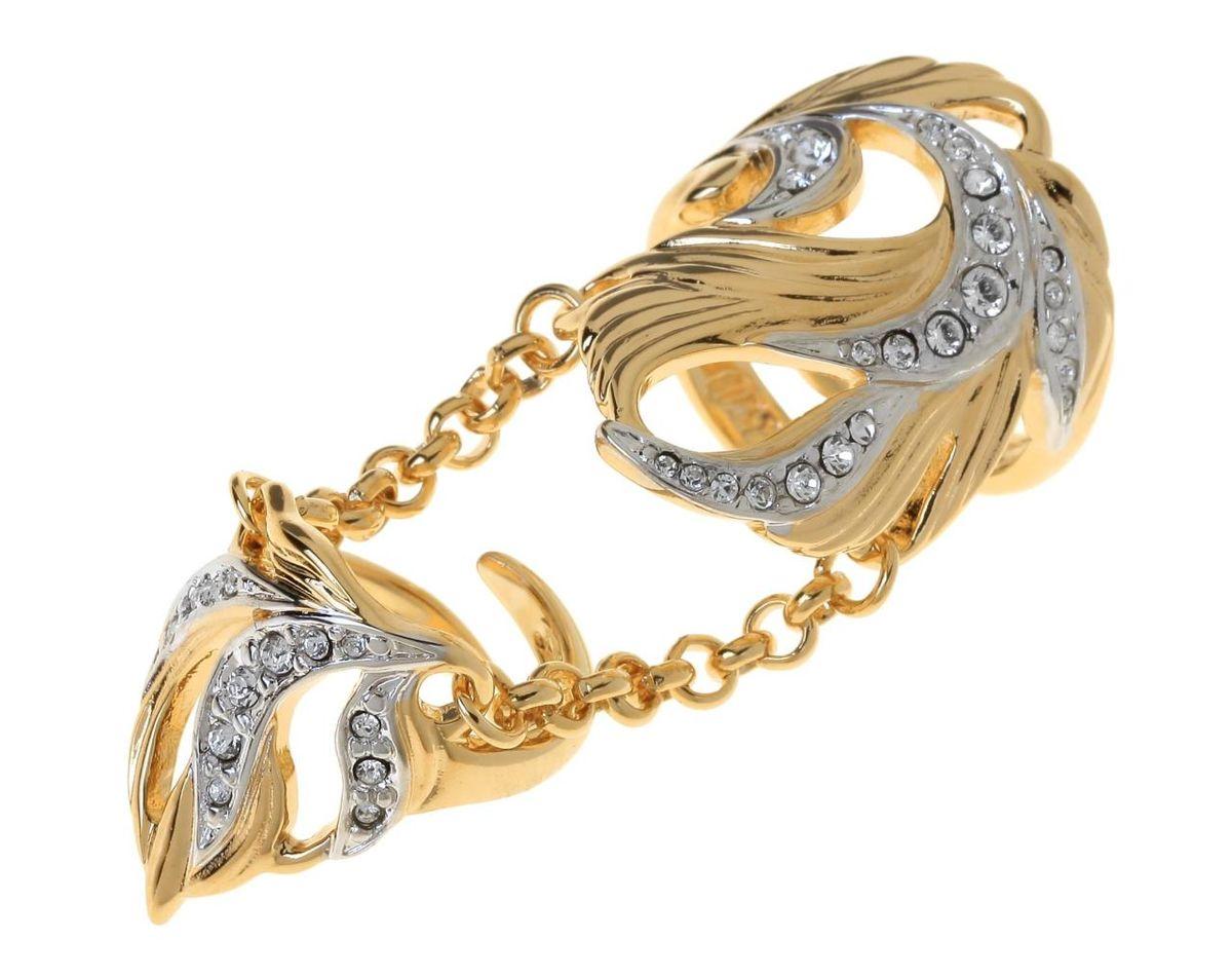 Кольцо Jenavi Гуадалете, цвет: золотой, белый. r766q000r766q000Стильное кольцо Jenavi Гуадалете выполнено из ювелирного сплава и оформлено природными мотивами и кристаллами Swarovski. Кольцо надевается на две фаланги и имеет универсальный размер. Оригинальное кольцо Jenavi превосходно дополнит ваш образ и подчеркнет отменное чувство стиля своей обладательницы.