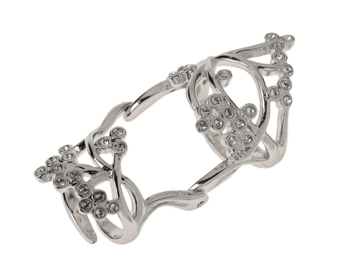Кольцо Jenavi Салада, цвет: серебряный, белый. r767f000r767f000Стильное кольцо Jenavi Салада выполнено из гипоаллергенного ювелирного сплава с серебрением и оформлено ажурными переплетениями, которые дополнены кристаллами Swarovski. Кольцо надевается на две фаланги и имеет универсальный размер. Оригинальное кольцо Jenavi превосходно дополнит ваш образ и подчеркнет отменное чувство стиля своей обладательницы.