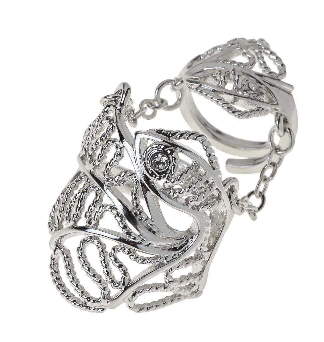 Кольцо Jenavi Вежер, цвет: серебряный, белый. r768f000r768f000Стильное кольцо Jenavi Вежер выполнено из ювелирного сплава и оформлено ажурными переплетениями в виде рыбки, глазик которой дополнен кристаллом Swarovski. Кольцо надевается на две фаланги и имеет универсальный размер. Оригинальное кольцо Jenavi превосходно дополнит ваш образ и подчеркнет отменное чувство стиля своей обладательницы.