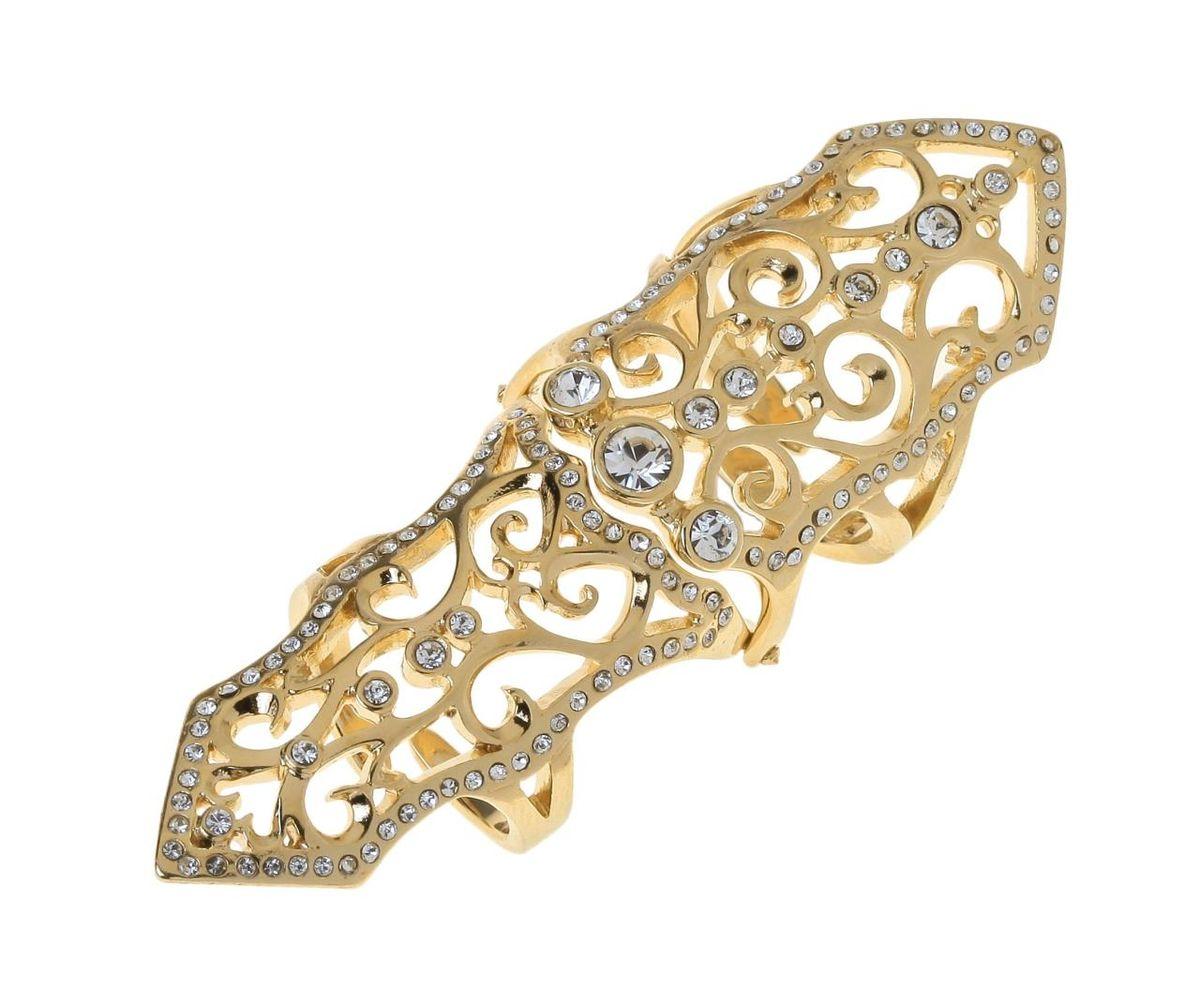 Кольцо Jenavi Ферия, цвет: золотой, белый. r770p000r770p000Стильное кольцо Jenavi Ферия выполнено из гипоаллергенного ювелирного сплава с позолотой и оформлено ажурными переплетениями, которые дополнены кристаллами Swarovski. Кольцо надевается на две фаланги и имеет универсальный размер. Оригинальное кольцо Jenavi превосходно дополнит ваш образ и подчеркнет отменное чувство стиля своей обладательницы.