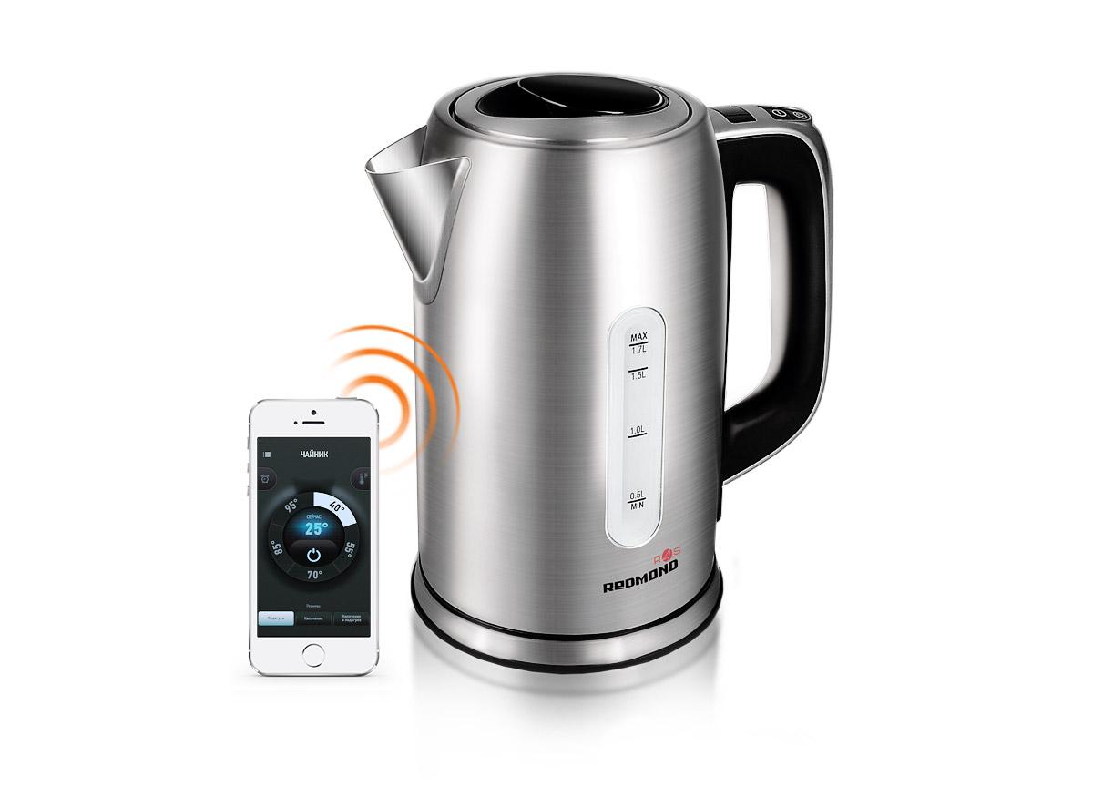 Redmond SkyKettle RK-M171S, Metallic электрический чайникRK-M171SЭлектрический чайник Redmond SkyKettle RK-M171S – новая оригинальная модель с обширным функционалом и удобным дистанционным управлением. Благодаря инновационной технологии Ready for Sky управлять умным чайником можно из любой точки мира со смартфона или планшета. Мобильное приложение позволяет вскипятить воду на расстоянии – одним касанием к экрану смартфона. Через мобильное приложение R4S можно выбрать желаемое время подогрева воды и установить идеальную температуру для заварки любимого сорта чая, приготовления детского питания и создания авторских напитков – для этого здесь предусмотрено 13 режимов! Redmond SkyKettle RK-M171S имеет ряд крайне важных функций, в частности это автоотключение при закипании, при отсутствии воды и при снятии чайника с подставки. Ненагревающаяся ручка, термодатчик и съемный фильтр для защиты от накипи – дополнительные преимущества Smart Kettle. Практичная модель представлена в изысканном серебряном оттенке. С точки...