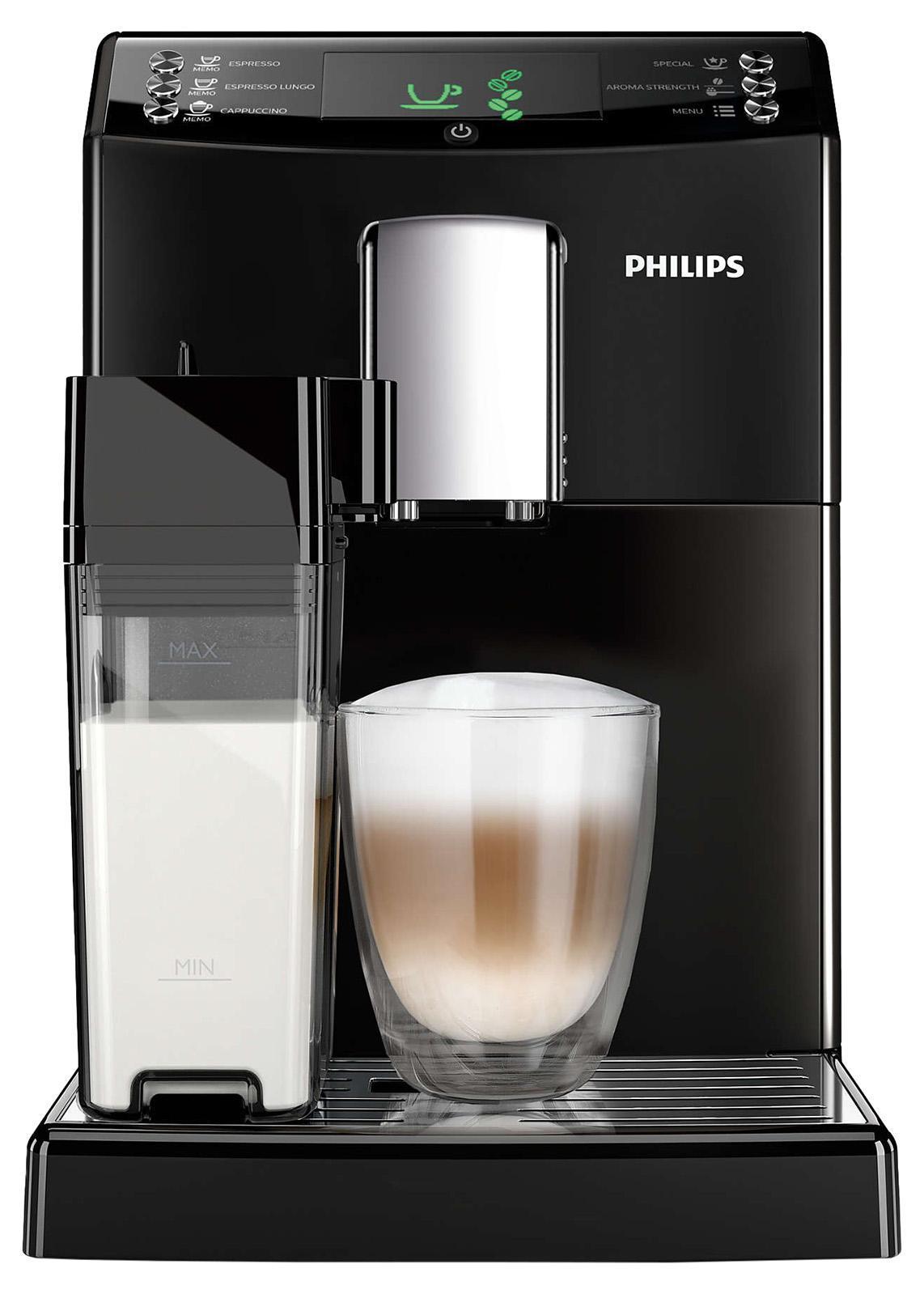 Philips HD8828/09 кофемашинаHD8828/09Эспрессо из свежемолотых кофейных зерен простым нажатием кнопки. Приготовьте одну или сразу две порции превосходного эспрессо, сваренного из свежемолотых кофейных зерен, просто нажав на кнопку и подождав несколько секунд. Идеальный капучино с пышной молочной пеной одним нажатием кнопки Наслаждаться превосходным капучино, приготовленным при идеальной температуре, теперь просто как никогда. Просто наполните молочный кувшин и присоедините его к кофемашине, затем выберите свой напиток. Будет ли это капучино или просто взбитое молоко, приготовление займет всего несколько секунд. При этом не будет никаких брызг. Потрясающий вкус благодаря 100%-но керамическим жерновам Забудьте о жженом привкусе кофе благодаря 100%-но керамическим жерновам, которые не перегревают зерна. Керамика гарантирует долгий срок службы и бесшумную работу. Регулируемые настройки помола для идеального вкуса кофе Выберите одну из пяти степеней помола на ваш вкус — от самого тонкого для приготовления насыщенного...
