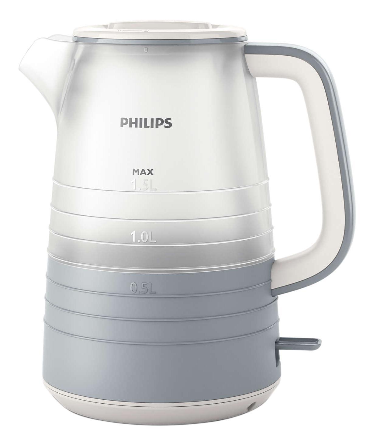 Philips HD9335/31 электрический чайникHD9335/31Благодаря тщательно продуманному дизайну уровень воды в чайнике просматривается под любым углом. Кроме того, микрофильтр эффективно фильтрует воду, удерживая известковые отложения. Надежное и эффективное кипячение воды и долгий срок службы. Понятный индикатор уровня воды просматривается с любой стороны благодаря прозрачному корпусу. Уровень воды обозначается с помощью стильных полосок с указанием количества чашек. Особый дизайн крышки, ручки и переключателя предотвращает образование конденсата и контакт с паром. Съемный микрофильтр в носике удерживает все частицы накипи размером > 180 микрон, чтобы вода всегда была чистой. Комплексная система безопасности для предотвращения короткого замыкания и выкипания воды. Функция автовыключения активируется, когда процесс завершается или прибор снимается с основания. Шнур оборачивается вокруг основания, что позволяет легко разместить чайник на кухне. Встроенный нагревательный...