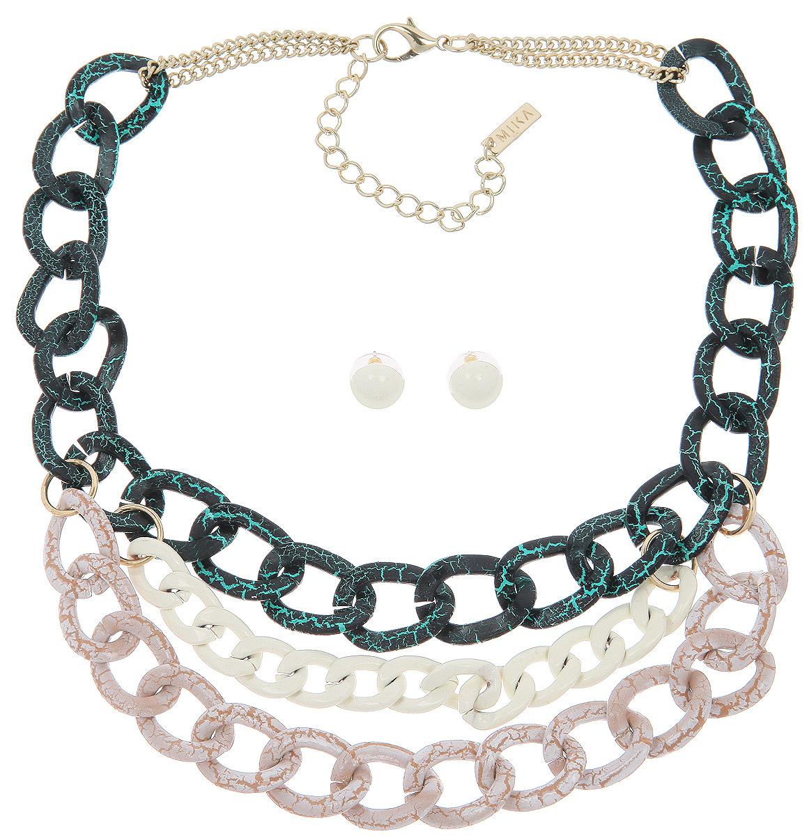 Комплект украшений Avgad: колье, серьги, цвет: темно-зеленый, светло-розовый, белый. H-477S991