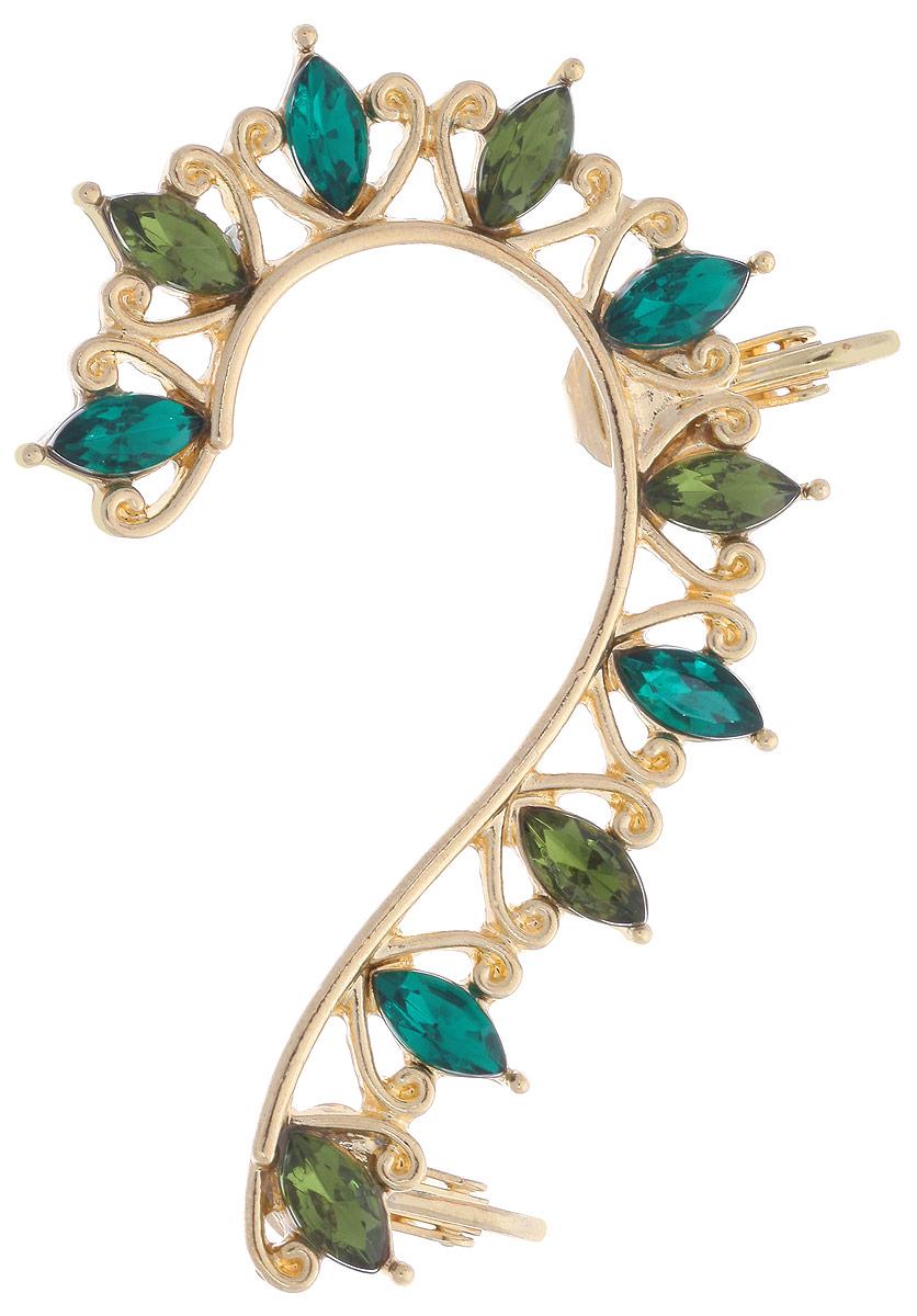 Каффа Avgad, цвет: золотистый, зеленый. EA178JW303EA178JW303Стильное украшение для уха каффа Avgad изготовлено из ювелирного сплава и дополнено стразми. Застегивается изделие на два замка-клипсы. Каффа предназначена для украшения левого уха. Это необычное украшение внесет изюминку в ваш модный образ, а также позволит выделиться среди окружающих.