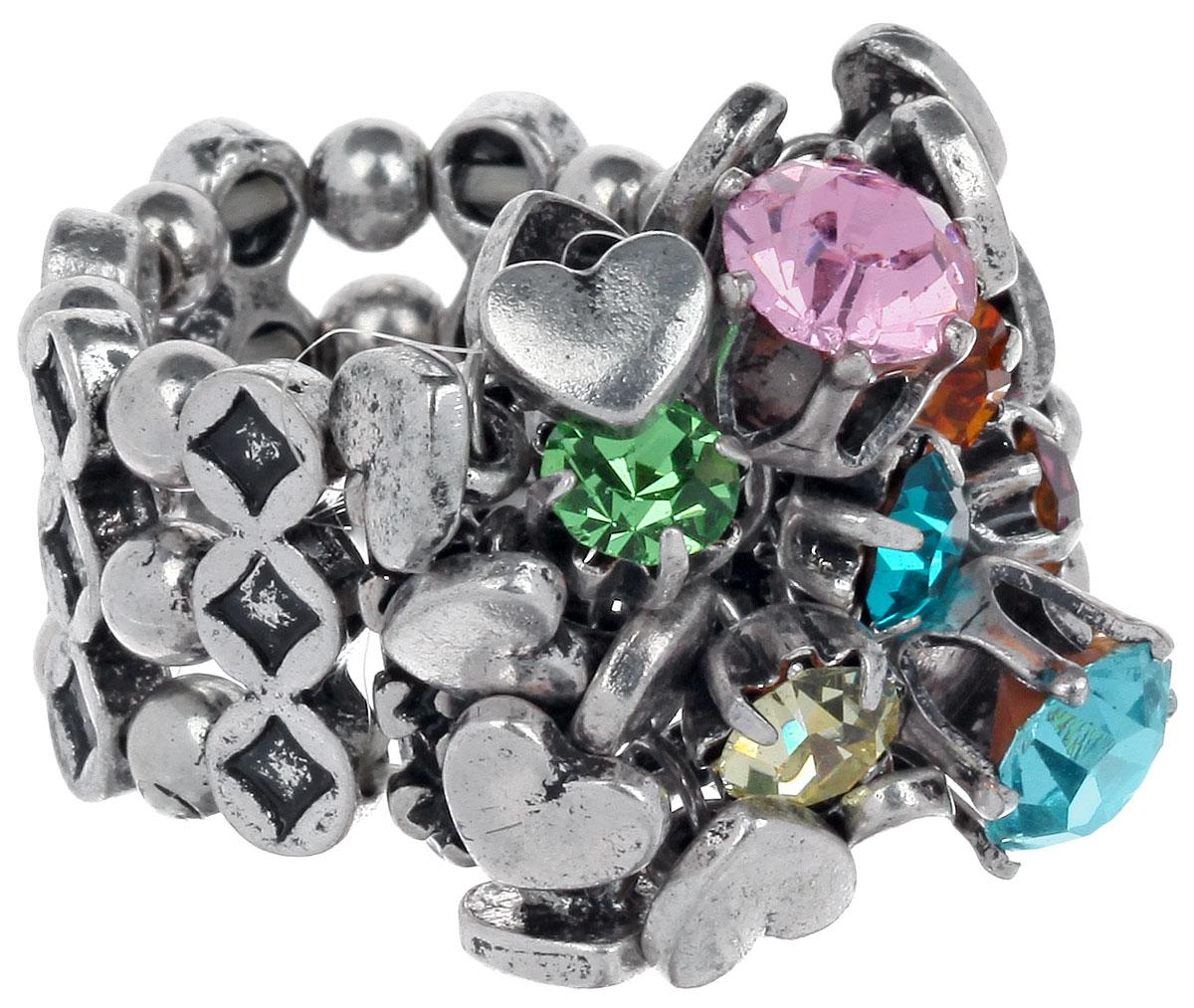 Кольцо Avgad, цвет: серебристый, зеленый, розовый. EA178JW272EA178JW272Оригинальное кольцо Avgad, изготовленное из ювелирного сплава, оформлено вставками из стекла и декоративными элементами в виде сердец. Элементы кольца соединены между собой при помощи тонкой резинки, благодаря которой изделие имеет универсальный размер. Его легко снимать и надевать. Это необычное украшение внесет изюминку в ваш модный образ, а также позволит выделиться среди окружающих.