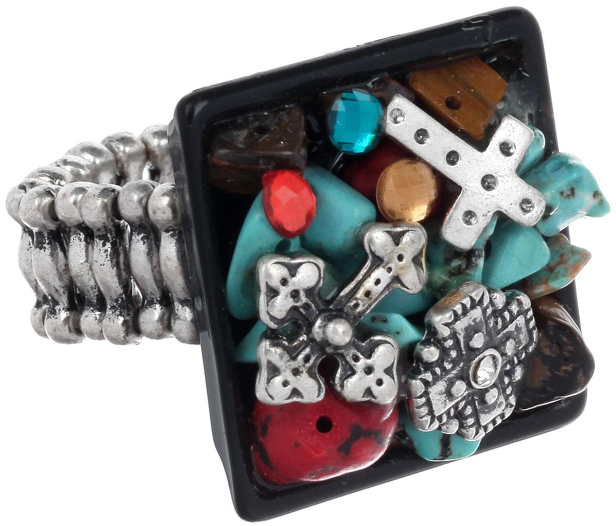Кольцо Avgad, цвет: серебристый, бирюзовый, черный. EA178JW260EA178JW260Оригинальное кольцо Avgad изготовлено из ювелирного сплава и керамики. Изделие дополнено натуральными камнями, стразами и декоративными элементами из металла. Элементы кольца соединены между собой при помощи тонкой резинки, благодаря которой изделие имеет универсальный размер. Его легко снимать и надевать. Кольцо упаковано в мешочек на кулиске. Это необычное украшение внесет изюминку в ваш модный образ, а также позволит выделиться среди окружающих.