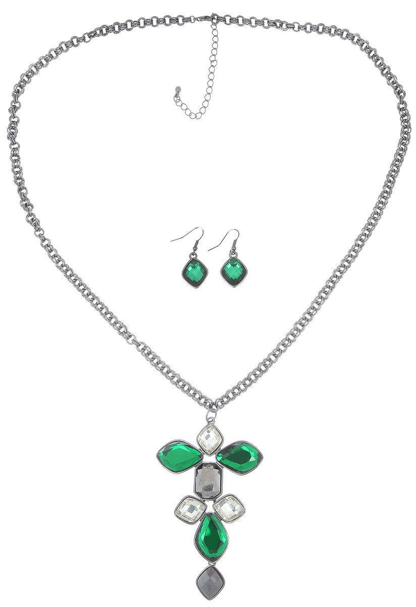 Комплект украшений Avgad: колье, серьги, цвет: гематит, зеленый. H-477S1033