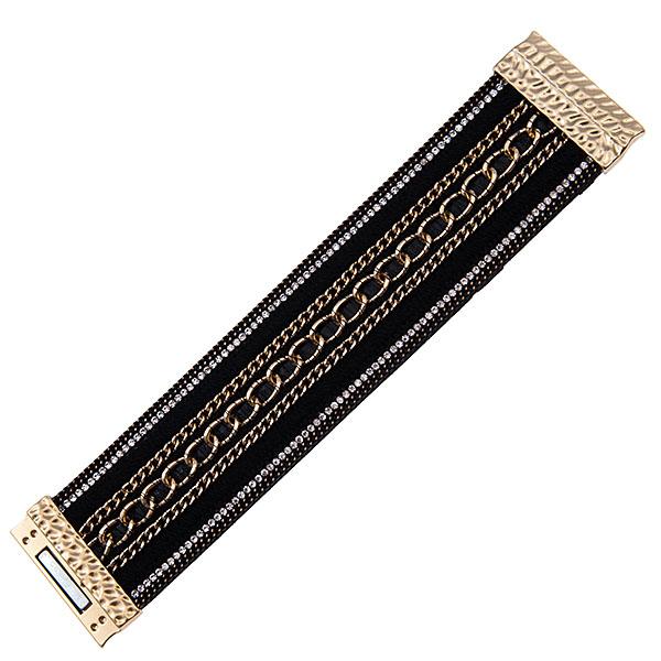 Браслет Selena Valencia, цвет: черный, золотой. 4005278040052780Стильный браслет Selena Valencia, изготовленный из гипоаллергенного материала, выполнен из экокожи, текстиля и металла c золотым покрытием. По бокам браслет инкрустирован стразами Preciosa, а по центру дополнен цепями. Изделие застегивается на магнитный замок. Такой оригинальный браслет не оставит равнодушной ни одну любительницу изысканных и необычных украшений, а также позволит с легкостью воплотить самую смелую фантазию и создать собственный, неповторимый образ.