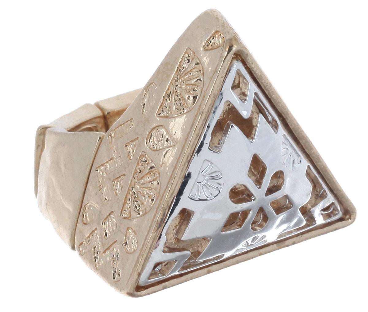 Кольцо Avgad, цвет: золотистый, серебристый. EA178JW307EA178JW307Оригинальное кольцо Avgad, изготовленное из ювелирного сплава, оформлено рельефным рисунком и декоративной перфорацией. Элементы кольца соединены между собой при помощи тонкой резинки, благодаря которой изделие имеет универсальный размер. Его легко снимать и надевать. Это необычное украшение внесет изюминку в ваш модный образ, а также позволит выделиться среди окружающих.