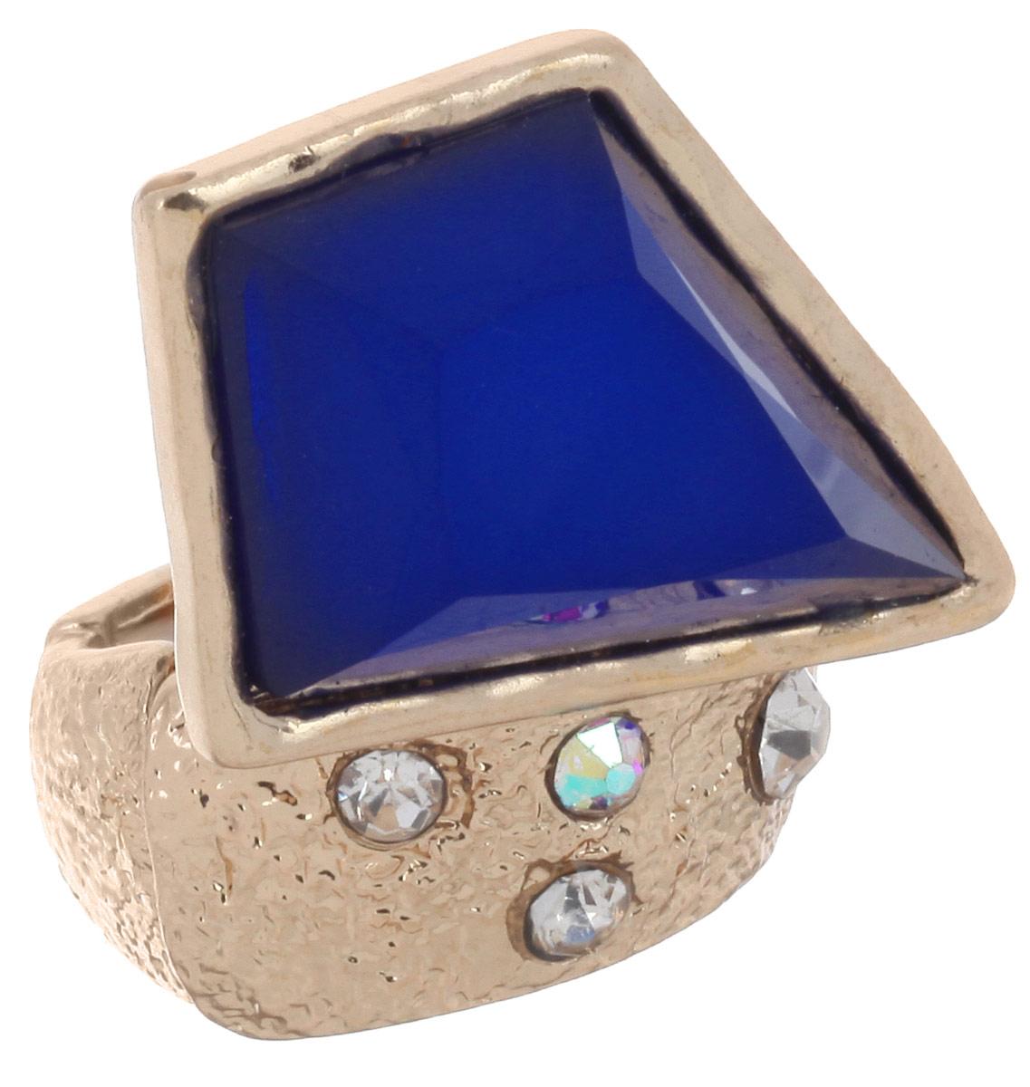 Кольцо Avgad, цвет: золотистый, синий. EA178JW306EA178JW306Оригинальное кольцо Avgad, изготовленное из ювелирного сплава, дополнено стразами и вставкой из акрила. Элементы кольца соединены между собой при помощи тонкой резинки, благодаря которой изделие имеет универсальный размер. Его легко снимать и надевать. Это необычное украшение внесет изюминку в ваш модный образ, а также позволит выделиться среди окружающих.