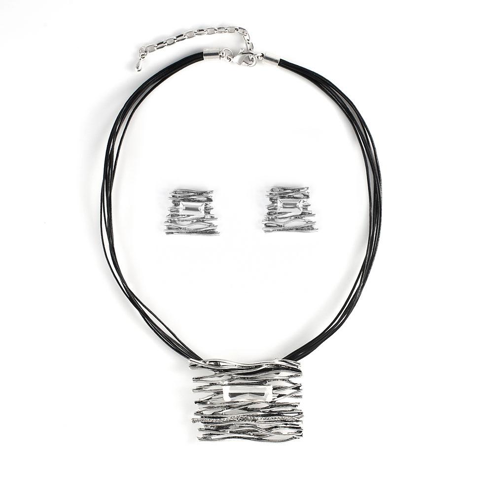 Комплект украшений Selena 'Valencia': колье, серьги, цвет: черный, серебристый. 10097082