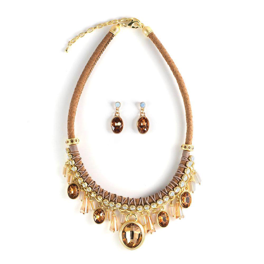 Комплект украшений Selena 'Valencia': колье, серьги, цвет: коричневый, золотой. 10097162