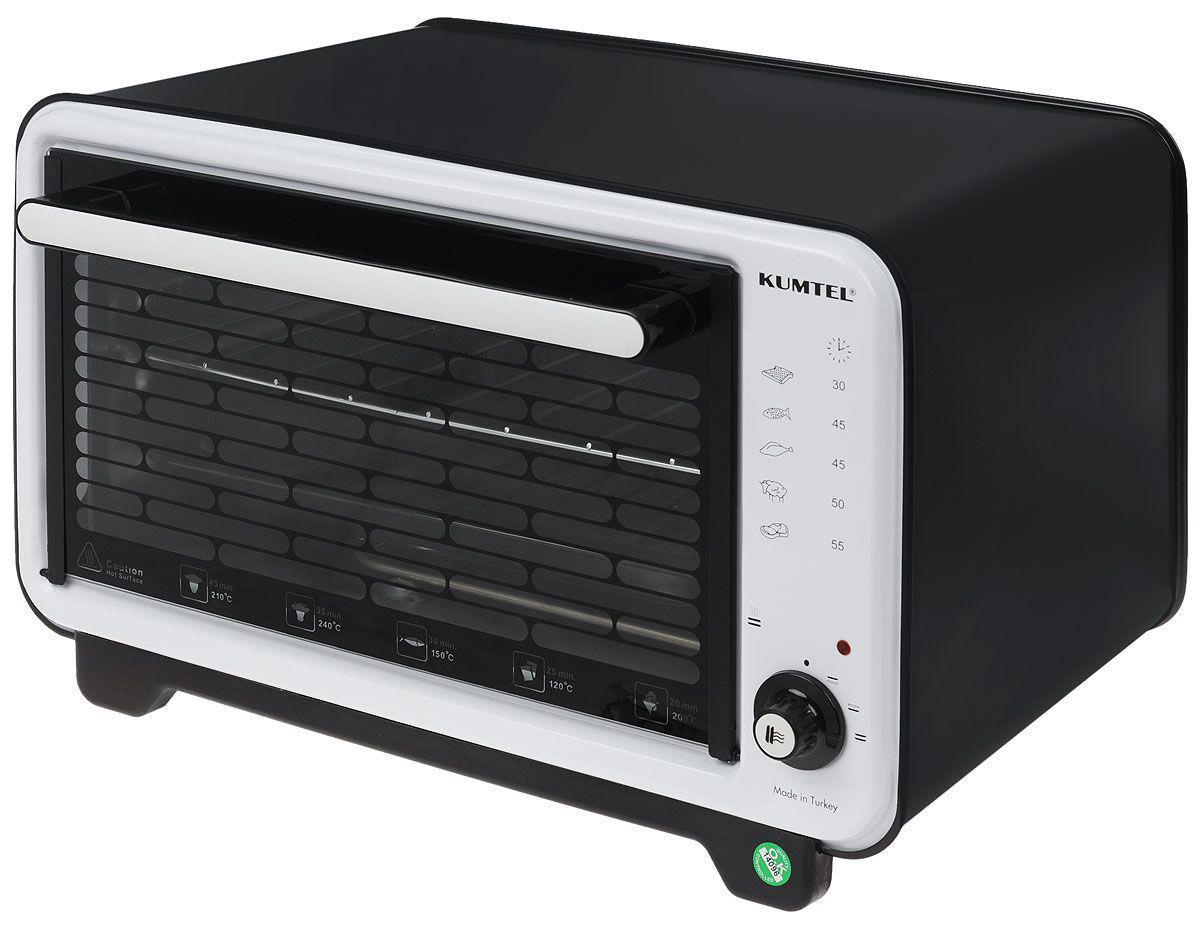 Kumtel KF 3000 D, Black White жарочный шкаф3000F KA OS RU 03Жарочный шкаф Kumtel KF 3000 D сэкономит пространство кухни и поможет приготовить вкусную пищу быстро благодаря мощности 1420 Вт. Вместительная 36-литровая духовка изготовлена из современного жаропрочного материала. Печь быстро набирает максимальную температуру, равную 320 градусам. Передняя сторона Kumtel KF 3000 D имеет световой индикатор и переключатель режимов. Также на корпусе имеются графические обозначения, которые подскажут вам, как долго нужно запекать тот или иной продукт.