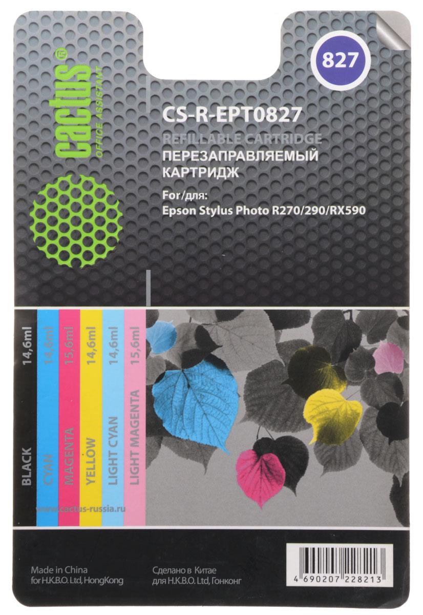 Cactus CS-R-EPT0827, Color комплект картриджей для Epson Stylus Photo R270/290/RX590CS-R-EPT0827Комплект перезаправляемых картриджей Cactus CS-R-EPT0827 предназначен специально для принтеров Epson Stylus Photo R270/290/RX590.