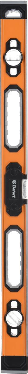 Уровень Defort DLL-0,8-L, 80 см98293500Прочный пузырьковый уровень Defort DLL-0,8-L с возможностью измерять горизонтальные, вертикальные и под 45° плоскости. Уровень выполнен из толстого профилированного алюминия, торцы защищены пластиковыми заглушками с резиновыми вставками. На корпусе имеются удобные для переноски и работы отверстия. Пузырьковый уровень Defort DLL-0,8-L имеет приятную подсветку. При выравнивании плоскости подсветка работает красным цветом, при выравнивании уровня по горизонтали загорается зеленая подсветка и звучит специальный сигнал. Работает уровень от трех пальчиковых батареек ААА (входят в комплект).
