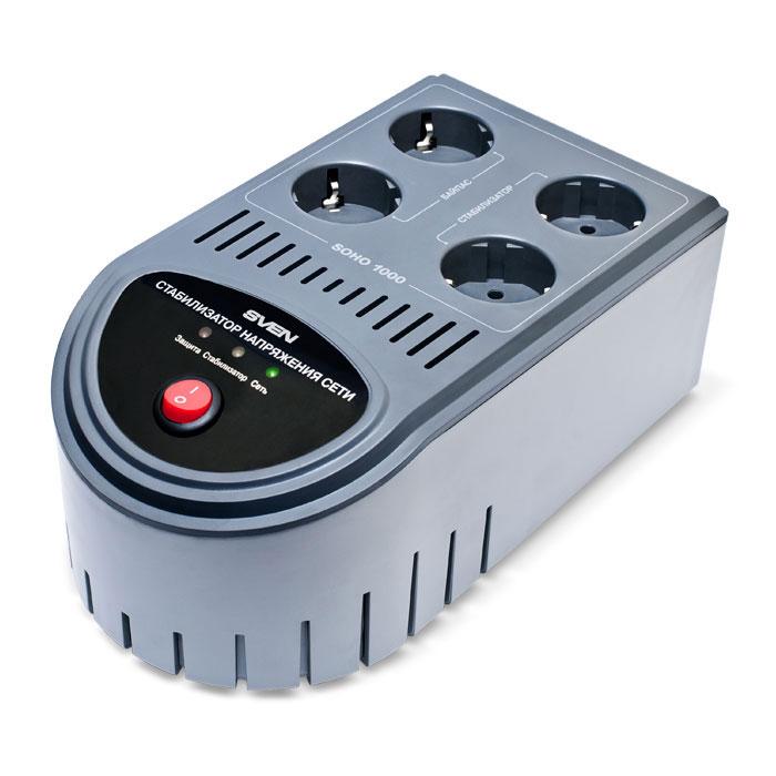 Sven Soho 1000 стабилизатор напряженияSV-SOHO1000Cтабилизатор напряжения Sven Soho 1000 ориентирован на домашнего пользователя и объединяет в себе два устройства: стабилизатор напряжения и фильтр-удлинитель. Он предназначены для защиты вашей электронной техники от нестабильного сетевого напряжения. Рекомендуется использовать стабилизаторы напряжения для защиты любых типов телевизоров, DVD-проигрывателей (рекордеров), аудиотехники, компьютерной и другой бытовой электроники. Стабилизаторы Sven Soho обеспечивают подключенное к стабилизированным выходам оборудование питанием в диапазоне 220 В +/- 10 % при изменении напряжения в сети от 140 до 270 В. В случае повышения сетевого напряжения свыше 270 В или понижения ниже 140 В система защиты обеспечит безопасное отключение подключенного оборудования от сети. Встроенный сетевой фильтр защитит подключенное оборудование от импульсных помех. Две байпасных розетки стабилизаторов предназначены для постоянного безопасного подключения к сети электроснабжения...