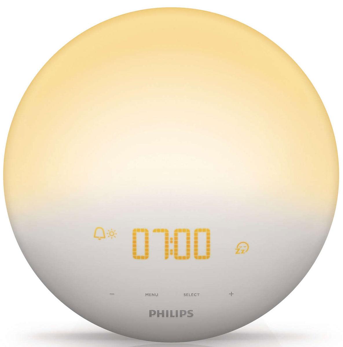 Philips HF3510/70 Wake-up Light световой будильникHF3510/70Идею этого будильника подсказала сама природа. Philips Wake-up Light обеспечивает естественное пробуждение при помощи уникального сочетания света и звука. Теперь Вы будете просыпаться по утрам легче и в хорошем настроении Постепенное пробуждение благодаря имитации рассвета: Имитируя естественный рассвет солнца, свет постепенно становится ярче: в течение 30 минут он плавно переходит в желтый оттенок дневного света. Такое постепенное нарастание света помогает организму проснуться естественным образом. И только после этого раздается выбранный вами сигнал — один из звуков природы, который позволит вам полностью проснуться в прекрасном настроении. Звуки природы для будильника: 3 сигнала на выбор: В установленное вами время раздастся сигнал — звук природы, помогающий вам окончательно проснуться. Громкость выбранного Вами звука будет постепенно увеличиваться в течение полутора минут. Вы можете выбрать один из трех звуков природы: пение птиц,...