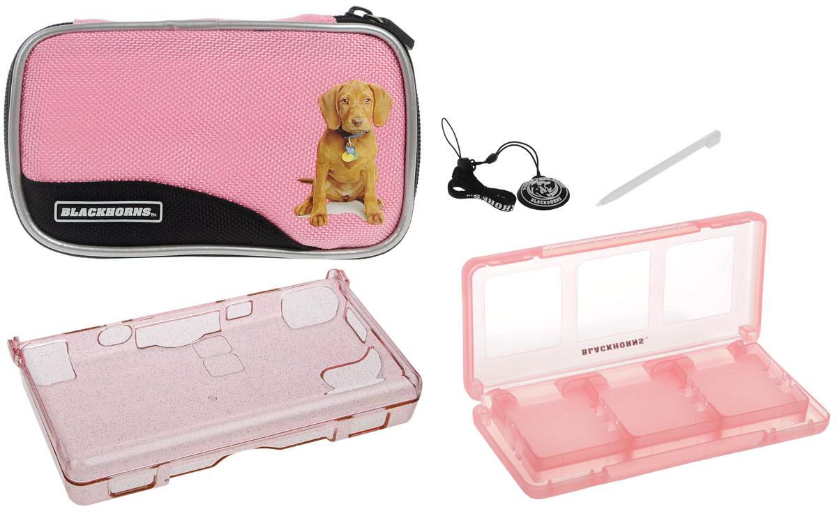 Набор 6 в 1 для приставки DS Lite, цвет: розовыйBH-DSL09612_розовыйНабор аксессуаров для приставки DS Lite. Особенности комплекта: Стильный белый чехол с изображением щенка. Надежно защитит Вашу DS Lite от ударов, царапин, и других повреждений. Выполнен из нейлона. Удобная и прочная молния с застежкой. Съемный карабин позволит надежно закрепить чехол на рюкзаке, сумке или ремне. Защитный пластиковый прозрачный корпус с блестками сделан из прочного поликарбонатного материала и обеспечивает защиту Вашей Nintendo DS Lite от царапин и сколов. Футляр для картриджей включает 6 слотов для хранения игровых картриджей. Ремешок на руку защитит Вашу приставку от падений. С очищающей подушечкой экран Вашей приставки всегда будет оставаться чистым.