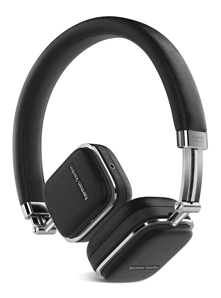 Harman Kardon Soho Wireless, Black наушникиHKSOHOBTBLKПремиальные складные наушники Harman Kardon Soho Wireless, выполненные из высококачественной стали и отделанные натуральной кожей, обзавелись беспроводной технологией Bluetooth, датчиком NFC и сенсорным управлением, которое расположилось на одной из чашек. Звучание осуществляется через 30-мм неодимовые драйверы, заслужившие доверие меломанов по всему миру. Быстрая связь с мобильными устройствами настраивается путем технологии NFC, потоковая передача данных осуществляется по Bluetooth с помощью задействованных кодеков aptX и AAC. Управлять Harman Kardon Soho Wireless очень просто – достаточно прикоснуться к чашке и отрегулировать громкость музыки, переключиться от одного трека к другому или приостановить воспроизведение. Когда встроенный аккумулятор разряжается, наушники продолжат работу через комплектный кабель, подключаемый через USB, одновременно подзаряжаясь от мобильного устройства. Мгновенный доступ к удаленным функциям так близок. Достаточно...