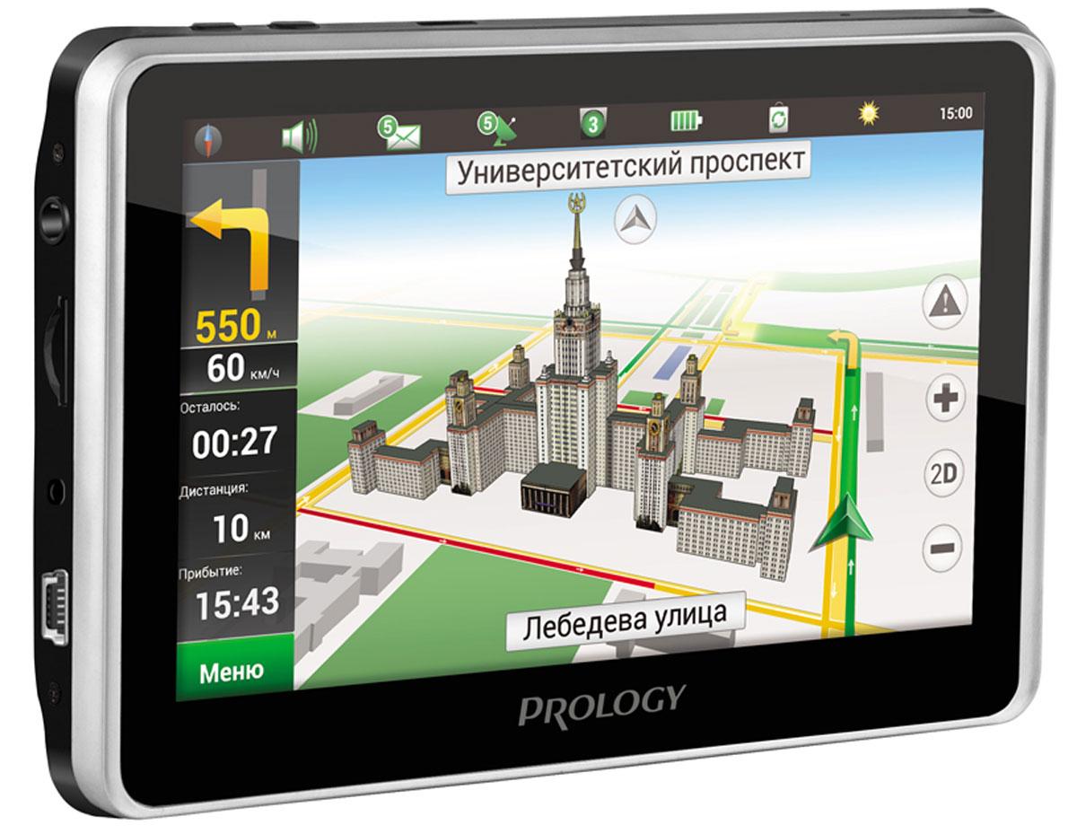 Prology iMAP-580TR автомобильный навигаторPROLOGY iMAP-580TRМногофункциональное навигационно-мультимедийное устройство Prology iMAP-580TR с 5-дюймовым сенсорным экраном, встроенным видеорегистратором, модулем Bluetooth (hands-free, потоковое аудио, режим DUN) и FM-модулятором, позволяющим воспроизводить музыку через аудиосистему автомобиля. AV-вход позволяет подключать к Prology iMap-580TR сторонние мультимедиа-источники и использовать его в качестве монитора. Предустановленное лицензионное программное обеспечение Навител Навигатор полностью готово к работе и не требует дополнительной покупки карт. Картографическое покрытие охватывает всю Россию и еще 11 стран: Украину, Беларусь, Казахстан, Латвию, Литву, Эстонию, Польшу, Норвегию, Данию, Швецию, Финляндию, всего более 370 000 населенных пунктов, в том числе более 30 000 – с HD-картографией. Встроенный HD-видеорегистратор (720p) с отдельным слотом для карты памяти Загрузка данных о пробках Процессор MTK 500 МГц Оперативная...