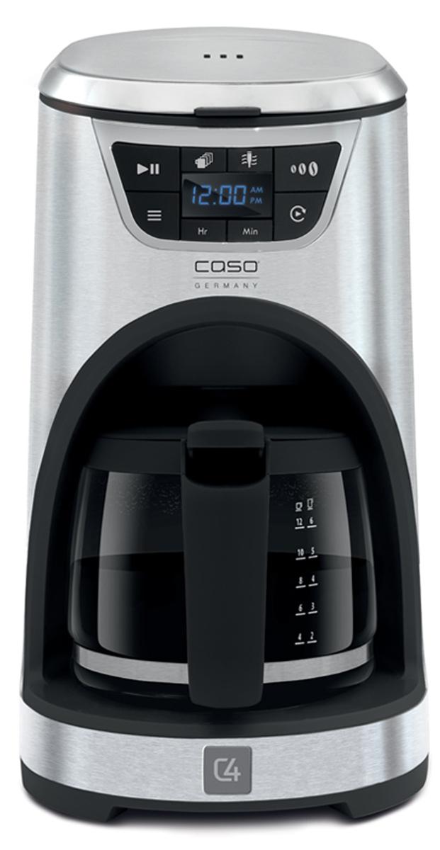CASO NOVEA C4, Black Silver кофеваркаNOVEA C4Кофеварка CASO NOVEA C4 позволяет получить напиток достаточно высокого качества. Оптимальная температура заваривания – 80 °C Панель управления со светодиодной подсветкой Функция поддержания температуры AromaControl (более длительный контакт с водой для усиления аромата) Съемный резервуар для воды Стеклянная чаша с прорезиненной ручкой на 12 чашек Пластина для нагрева с антипригарным покрытием Постоянный сетчатый золотой фильтр (GoldTone Filter) Фильтр для воды из активированного угля (с индикатором замены)