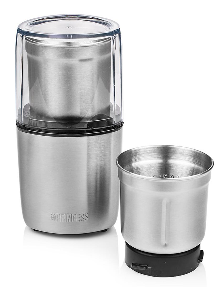Princess 221040, Silver кофемолка221040Princess 221040 - кофемолка и измельчитель в корпусе из нержавеющей стали. Две съёмные чаши для сухих (орехи, кофе) и влажных (томаты, зелень) продуктов в комплекте. Легко разбирается для чистки. Допускается мойка чаш в посудомоечной машине. Чаша из нержавеющей стали с 4 лезвиями Чаша из нержавеющей стали с 2 лезвиями Ножи из нержавеющей стали Крышка со смотровым окном