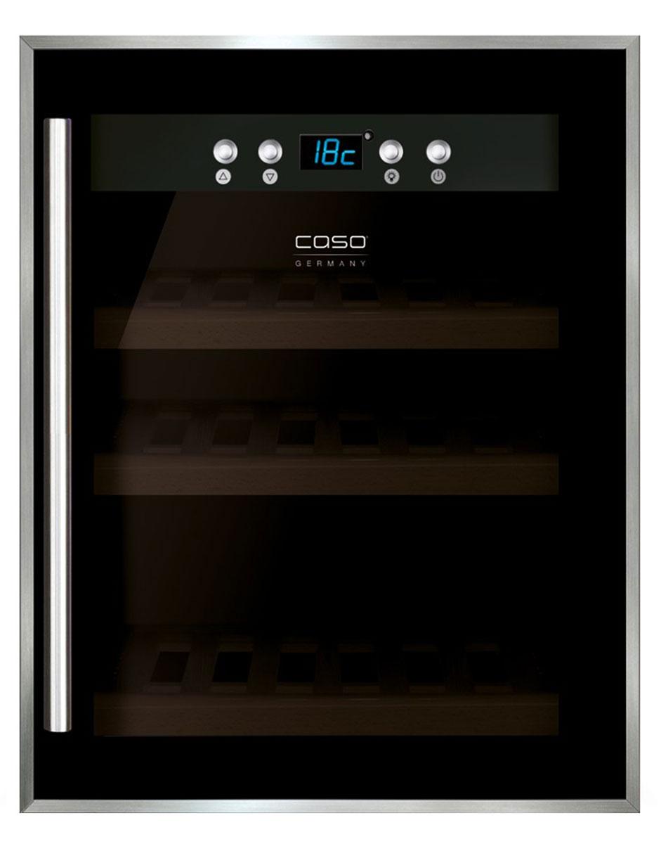 CASO WineSafe 12, Black винный шкафWineSafe 12 BlackCASO WineSafe 12 - это винный компрессорный холодильник класса А на 12 бутылок с температурной зоной 5-22°С. Среди особенностей данной модели можно выделить низкую вибрацию, голубую LED-подсветку и активный вентилятор. Внутри шкафа располагаются 3 деревянные полки. Стеклянная дверца с UV-фильтром в раме изготовлена из нержавеющей стали.