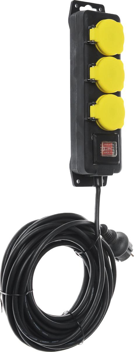Удлинитель садовый ЭРА U-3es-10m-IP44, влагозащищенный, 3 гнезда, 10 мU-3es-10m-IP44Садовый удлинитель ЭРА U-3es-10m-IP44 позволяет подключить несколько потребителей к одной электрической розетке. За счет большой длины кабеля незаменим на садовом участке, при проведении строительных и ремонтных работ. Силовой удлинитель имеет степень защиты IP44 и снабжен защитными шторками и защитными крышками, закрывающими электрические контакты от попадания пыли и влаги. 3 медные жилы сечением 1 мм2 обеспечивают допустимую максимальную мощность нагрузки в 2300 Вт. Сечение жилы провода является ключевым элементом качества силового удлинителя. Резиновая изоляция (неопрен) провода позволяет эксплуатировать удлинитель в широком диапазоне температур от -25°С до +60°С. Корпус выполнен из полипропилена и поликарбоната - устойчив к механическим повреждениям, царапинам, соответствует требованиям пожаробезопасности. Выключатель позволяет выключить все приборы, подключенные к удлинителю, не вынимая вилки из розетки. Технические характеристики: ...