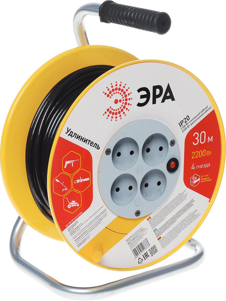 Удлинитель силовой ЭРА RP-4-2x1.0-30m, на катушке, 4 гнезда, 30 мRP-4-2x1.0-30mСиловой удлинитель ЭРА RP-4-2x1.0-30m предназначен для подключения электрических приборов мощностью до 2200 Вт к электрической сети переменного тока напряжением 220В 50Гц. Провод выполнен из чистой меди. Незаменим при строительных и ремонтных работах, когда приборы, требующие электропитание, расположены на удаленном расстоянии от розетки. Можно использовать как дома, так и в гараже, на приусадебных участках. Технические характеристики: Сечение жилы провода: 1 мм2. Номинальное напряжение: 220В. Максимальное напряжение: 250В. Максимальная нагрузка с размотанным шнуром: 2200 Вт. Максимальная нагрузка со смотанным шнуром: 1100 Вт. Наличие заземляющего контакта: нет. Температура эксплуатации: от +5°С до +40°С. Относительная влажность: не более 85%. Срок службы: 5 лет. Материал корпуса: полипропилен. Материал блока розеток: поликарбонат. Материал рамы: металл.
