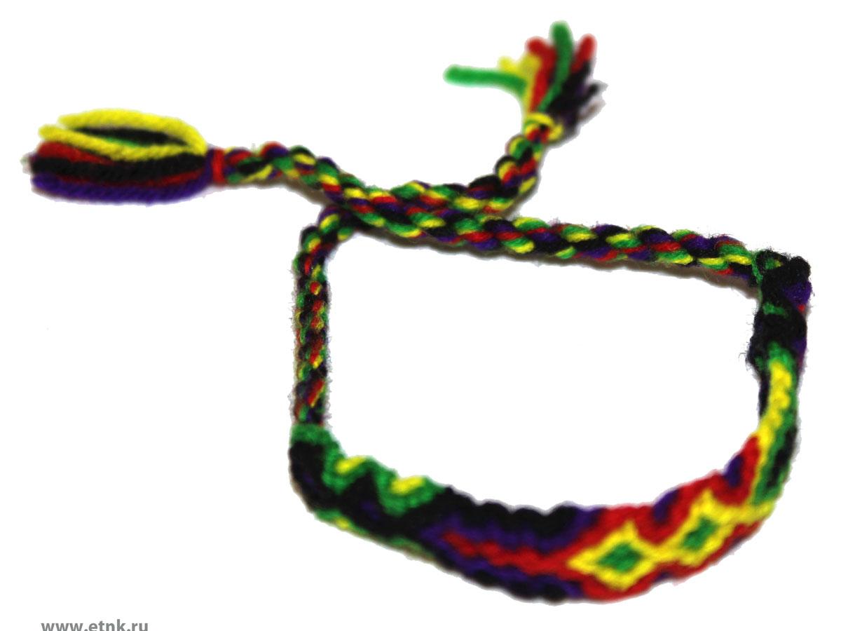 Фенечка Ethnica, цвет: желтый, зеленый, красный, фиолетовый, черный. 286010286010Стильный вязанный браслет-фенечка от Ethnica выполнен из текстиля контрастных ярких цветов. Изделие завязывается на завязки с кисточками. Фенечка - это браслет, который является символом дружбы и передаётся от одного друга другому. Первые фенечки появились ещё до Рождества Христова. Современные браслеты дружбы заимствованы у американских индейцев, а позже они стали атрибутикой хиппи и буддистов. У таких людей, как хиппи, которые ценят дары природы и отказываются от материальных ценностей, лучший подарок - это ручная работа. Обмен браслетами был важным ритуалом, он показывал принадлежность людей к братству хиппи. Сейчас такие браслеты могут плести представители всех культур и народов так, как в наше время фенечки символизируют очень близкие дружеские, а то и братские отношения.
