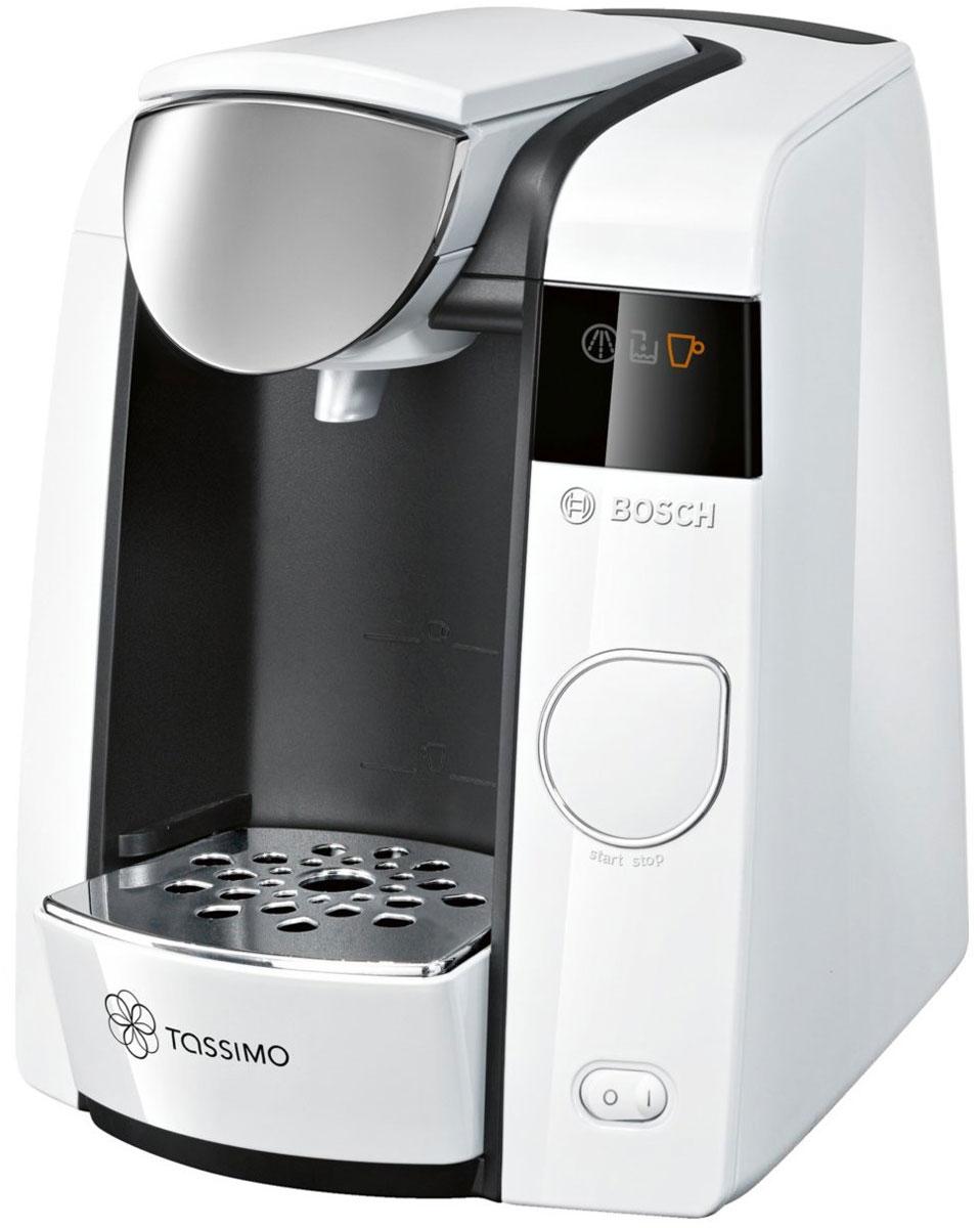Bosch Tassimo Joy TAS4504, White капсульная кофемашинаTAS4504Bosch Tassimo Joy TAS4504 – это стильная деталь интерьера для любого дома. Но она прекрасна не только снаружи. За изящным и элегантным внешним видом скрывается современная технология Intellibrew, делающая каждую чашку напитка идеальной. В дополнение к стандартным характеристикам кофемашин Tassimo, Bosch Tassimo Joy TAS4504 предлагает передовую систему фильтрации воды и настройки для регулирования крепости, которые обеспечивают максимальное удовольствие от напитков. Кофемашина Tassimo считывает штрих-код, нанесенный на каждую капсулу (Т-диск), и автоматически определяет точную информацию для приготовления идеального напитка: количество воды, время заваривания, температура. Несмотря на компактный размер, Bosch Tassimo Joy TAS4504 поражает размером своего резервуара для воды. Теперь нет необходимости доливать воду после каждой чашки напитка. Если вы обожаете хороший кофе, ароматный чай или лучший горячий шоколад, если вы цените красоту и любите пробовать новые...