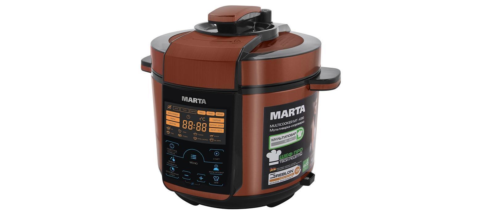 Marta MT-4310, Black Red мультиваркаMT-4310900 W, работа под давлением и без, сталь, толстостенная чаша 5 л, Greblon С3+ трехслойное полимер-керамическое покрытие, 45 программ (21 автоматическая, 24 ручные), МУЛЬТИПОВАР, ШЕФ, ШЕФ ПРО (память программ пользователя), сенсорное управление, 200 рецепт