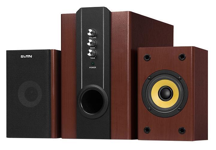 Sven SPS-820, Wood акустическая система 2.1 с сабвуферомSV-0130820WDНеизменное финское качество ТМ SVEN нашло свое отражение и в этой модели. Корпус акустической системы, выполненный из дерева, классически строг и элегантно благороден. Функционал SVEN SPS-820 удобен и доступен по цене, а звук – мощный и громкий. Регуляторы уровня громкости и тембра, как и регулятор уровня громкости сабвуфера расположены на передней панели корпуса сабвуфера, что делает управление максимально комфортным. На задней стенке расположены разъемы для подключения различных источников аудиосигнала: ПК, DVD-, CD- или MP3-плееров. Есть возможность настенного крепления сателлитов. Особенности Возможность подключения к различным источникам звука Магнитное экранирование Индикатор питания Сетевой выключатель Регуляторы громкости и тембра Возможность настенного крепления сателлитов Регулировка громкости сабвуфера Технические характеристики Выходная мощность (RMS), Вт сабвуфер: 18 сателлиты: 2 ? 10 Частотный диапазон, Гц сабвуфер: 20 – 180 сателлиты: 180 – 20 000 Размеры динамиков,...