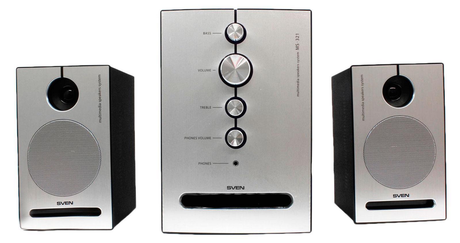 Sven MS-321, Black акустическая система 2.1 с сабвуферомSV-0130321BKСистема подходит для воспроизведения музыки, озвучивания игр, фильмов на ПК или ноутбуке. Однако суммарной мощности в 41 Вт хватит и для того, чтобы создать свой музыкальный центр, подключив комплект к DVD- или MP3-плееру. Передние панели сателлитов и сабвуфера выполнены из алюминия. При включении акустики элементы управления эффектно подсвечиваются светло-фиолетовым цветом. Необычный дизайн SVEN MS-321 настолько притягивает, что после покупки многим захочется поставить ее на видное место. Модель передает звуковую сцену во всех нюансах. Благодаря технологии акустического оформления «bandpass», а также щелевой конструкции фазоинвертора, у системы глубокий плотный бас. Чистое детальное звучание на высоких частотах обеспечивают двухполосные сателлиты. Управление акустикой очень простое и наглядное. На лицевой стороне сабвуфера расположено несколько регуляторов. С их помощью можно настроить уровень общей громкости системы, громкости наушников, а также отрегулировать уровень высоких и...
