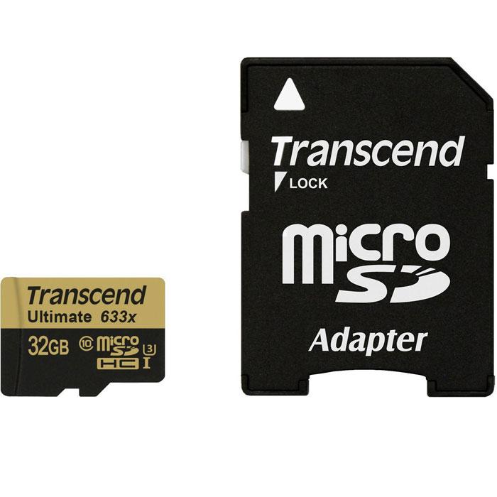 Transcend Ultimate microSDHC Class 10 UHS-I U3 633x 32GB карта памятиTS32GUSDU3MicroSD-карты памяти Transcend SDHC UHS-I Speed Class 3 (U3) 633x отличаются высокой производительностью и емкостью и способны с легкостью справиться с потоками данных, генерируемыми смартфонами, планшетами, цифровыми фото- и видеокамерами, совместимыми со стандартом UHS-I. Благодаря рекордным показателям скорости записи и чтения, которые составляют, соответственно, 95 и 85 МБ/с, эти носители позволяют записывать видео сверхвысокого разрешения в 4K и 3D-формате, а также существенно экономить время при переписывании больших файлов на компьютер. Кроме того, используемые в этих картах микросхемы флэш-памяти типа MLC NAND отличаются долговечностью и высокой надежностью.