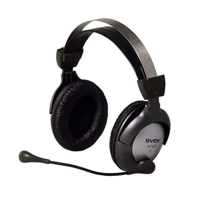 Sven AP-870 наушники с микрофономSV-0410870Модель AP-870 со встроенным микрофоном и регулятором громкости идеально подходит для прослушивания музыки и просмотра фильмов, компьютерных игр и голосового чата (voice chat) через Интернет. Наушники эргономичны и удобны в использовании, отличаются прекрасной звукоизоляцией и безупречным качеством звука. Регулятор громкости на кабеле Поворотный микрофонный держатель Регулируемое оголовье Кожаные амбушюры