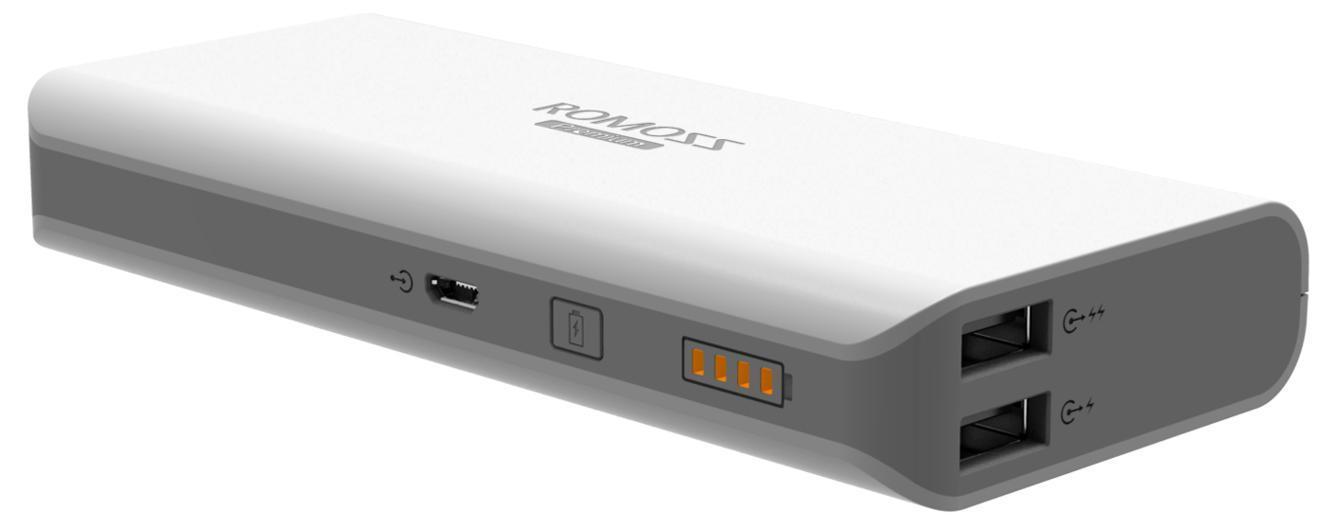 Romoss Sailing 5, White внешний аккумулятор00000008791Портативное зарядное устройство Romoss Sailing 3 (7800 мАч) - это внешний аккумулятор с достаточно большой мощностью (при нормальных условиях может зарядить iPhone4 около 5-ти раз), что позволяет вам больше общаться, снимать фото и видео, читать, делиться информацией со своими друзьями, слушать любимую музыку не зависимо от того, есть ли поблизости розетка. Он имеет 2 USB выхода и может заряжать 2 устройства одновременно. Есть возможность быстрой зарядки вашего планшета через порт 2,1 А.