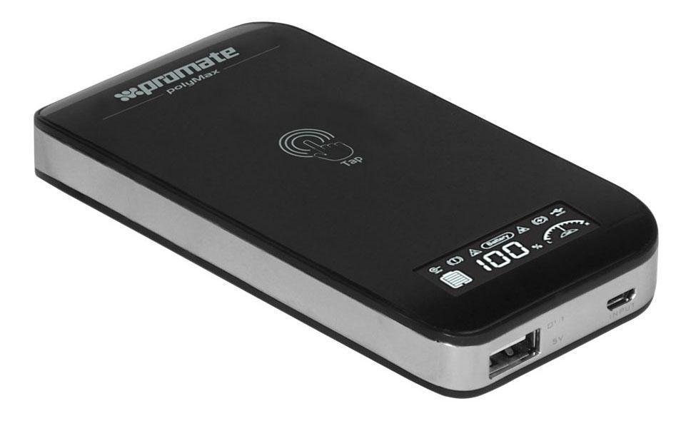 Promate polyMax, Black внешний аккумулятор00008398Мощь и стиль воплотились в аккумуляторе Polymax. Его ультра-компактный размер для всех ценителей стильный и функциональных гаджетов. Polymax зарядит Ваш смартфон в пути, прямо на ходу, Вы всегда будете на связи!!! Он маленький, но в нем сила тигра и ёмкость 6000mAh. Цифровой дисплей управления, проинформирует о остаточном заряде, а сенсорная кнопка активирует зарядку. Polymax предназначен для пользователя с чувством стиля дизайна.