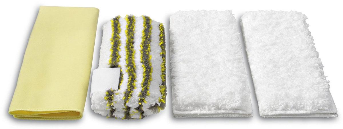 Karcher 28631710 набор салфеток для ванной, 4 шт28631710Набор салфеток для ванной Karcher состоит из 2 мягких половых тряпок из плюша, 1 абразивной салфетки для удаления стойкого известково-мыльного налета и 1 полировальной салфетки для ванной комнаты, не оставляющей полос и ворсинок. Дополнительная насадка с микрофибры служит для чистки зеркал и других гладких поверхностей. Набор хорошо впитывает воду и не оставляет разводов, его можно стирать при температуре 60°С.