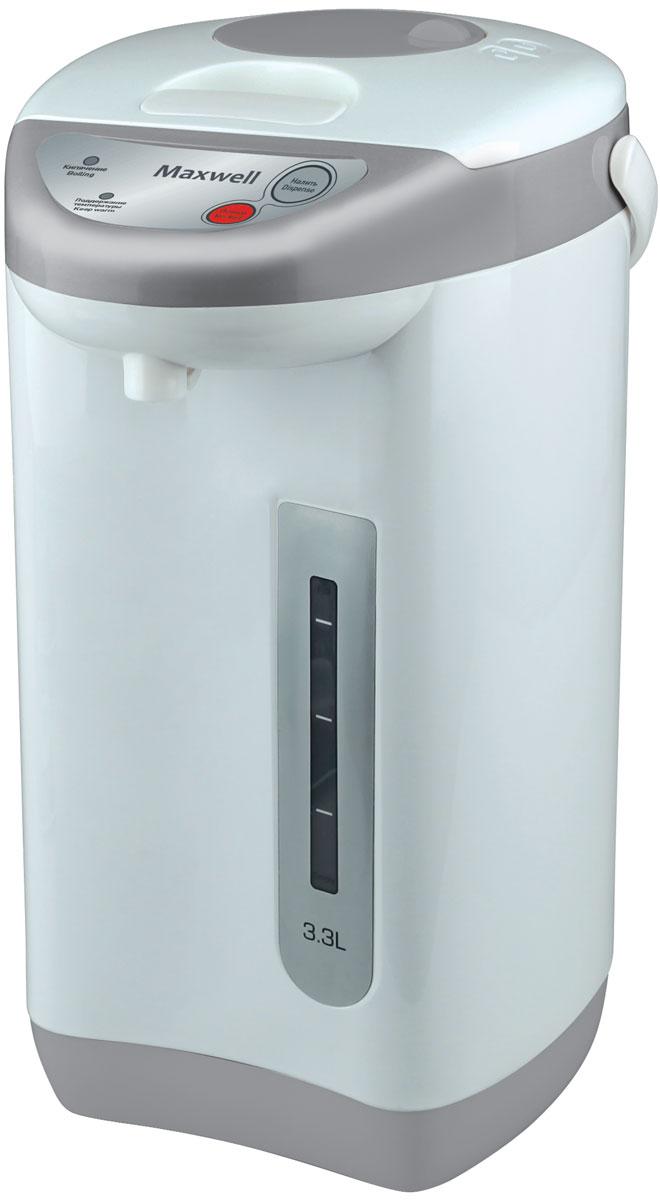 Maxwell MW-1056(GY) термопотMW-1056(GY)Для того чтобы пить горячий чай или кофе на протяжении всего дня, вам больше не потребуется пользоваться чайником, включая его ежечасно. Достаточно приобрести вместительный термопот Maxwell MW-1056! Он характеризуется большим объемом резервуара для воды 3,3литра, наличием функции поддержания температуры, удобной и безопасной системой налива кипятка. Термопот включается нажатием одной кнопки, при этом степень нагрева воды вы можете отрегулировать самостоятельно, выбрав один из нескольких предлагаемых температурных режимов. Прибор автоматически отключаются, когда вода нагревается до нужной температуры, что исключает необходимость постоянного пребывания рядом с техникой. Налить горячую воду в чашку очень просто, для чего в Maxwell MW-1056 встроен насос. Нажав на специальную кнопку, вода из резервуара потечет автоматически в подставленную чашку. Контролировать количество воды вы можете при помощи специальной прозрачной шкалы с метками, которая всегда вам подскажет, когда...
