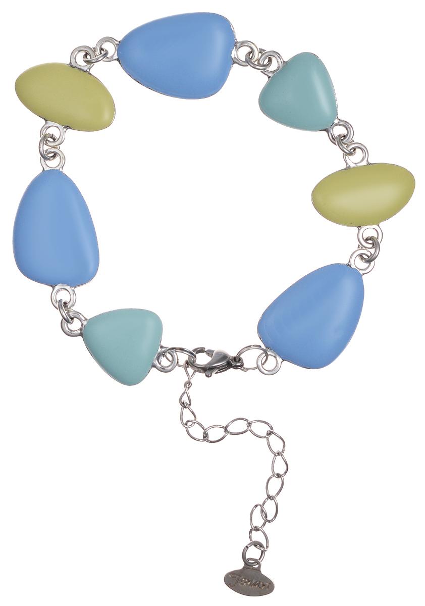 """Браслет Jenavi """"Тевир"""", цвет: серебряный, голубой, мятный, желтый. j96734e7"""