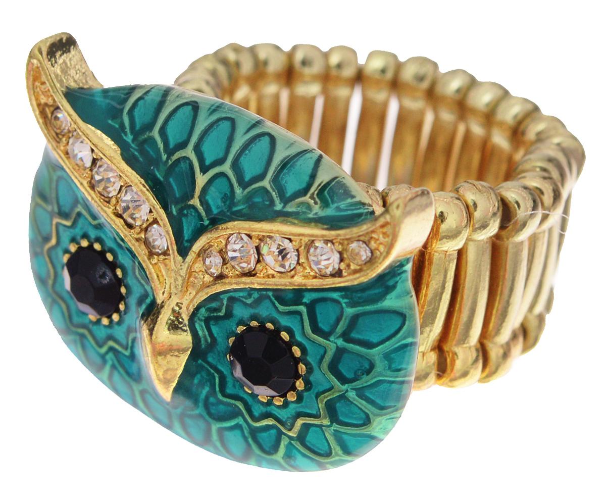Кольцо Avgad, цвет: золотистый, бирюзовый. EA178JW304EA178JW304Оригинальное кольцо Taya выполнено из бижутерийного сплава, оформлено декоративным элементом в форме головы совы, который дополнен эмалью и вставками из стекла. Стильное кольцо придаст вашему образу изюминку, подчеркнет индивидуальность.