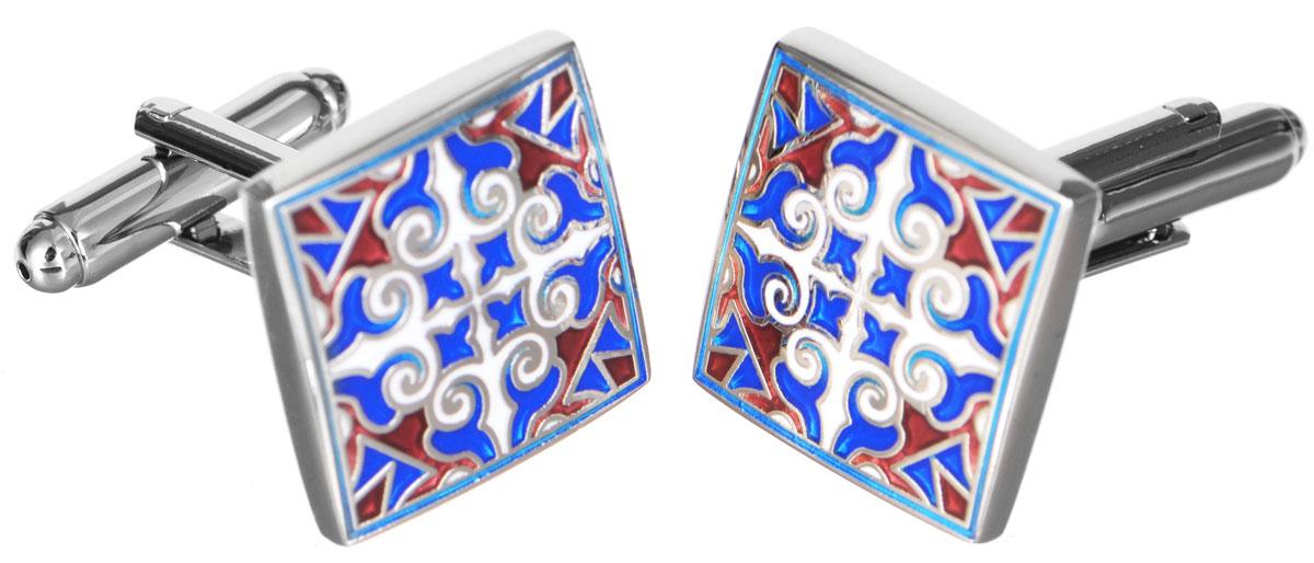 Запонки Mitya Veselkov Восточный узор, цвет: серебряный, синий, красный, белый. ZAP-229ZAP-229Запонки Mitya Veselkov Восточный узор выполнены из бижутерийного сплава. Запонки классической формы дополнены оригинальным восточным узором. Изделие застегивается на вращающийся штырек. Стильный аксессуар подчеркнет ваш образ, а также придаст элегантность и неповторимость имиджу.